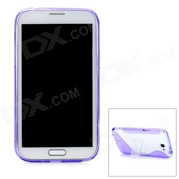Protective Back Case w/ Stand Holder for Samsung Galaxy Note 2 N7100 - Purple + Transparent fish eye wide angle macro set w half case for samsung galaxy note 2 n7100 black
