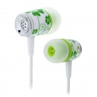GENIPU BSP-60 In-Ear-Stereo-Ohrhörer w / Ear-Green + White (3,5 mm Klinkenstecker / 120cm-Kabel)