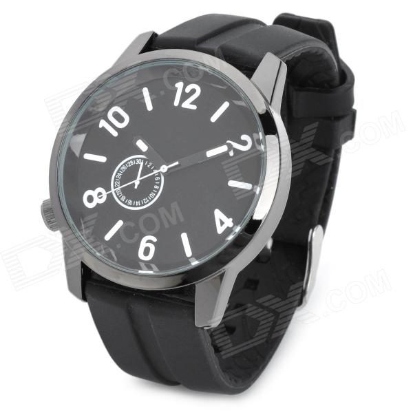 Casual Man's Silicone Band Quartz Analog Waterproof Wrist Watch - Black (1 x 377)