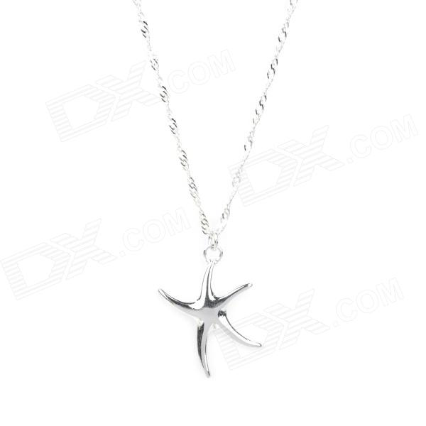 Fashion 925 Sterling Silver Starfish Pendant Necklace (45cm-Chain)