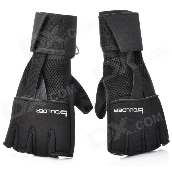 Boulder Professional Man's Half Finger Sandbag Training Gloves - Black (Pair)
