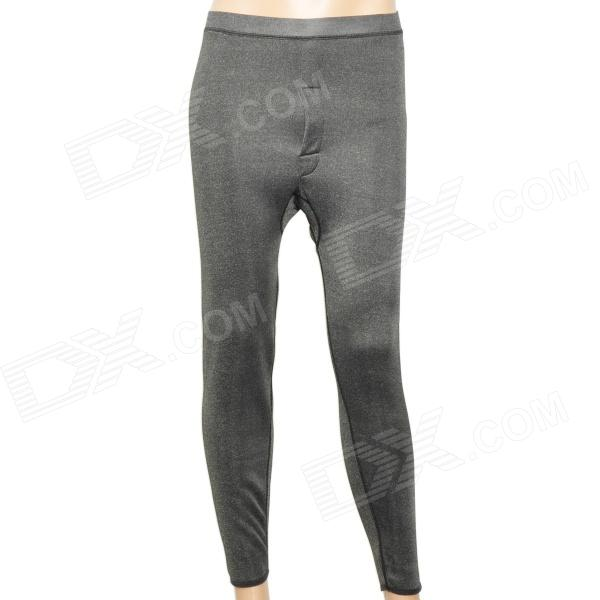 Casual Man's Double Bamboo Charcoal Fiber Long Johns Thermal Underwear Pants - Grey (Size XXL)