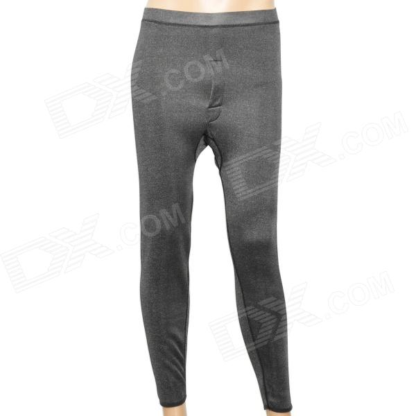 Casual Man's Double Bamboo Charcoal Fiber Long Johns Thermal Underwear Pants - Grey (Size XL)