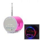 "TD-V36A Mini 1"" LED Screen Media Player Speaker w/ FM / TF - Deep Pink"