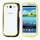 Protective Silicone + Plastic Bumper Frame for Samsung i9300 Galaxy S III - Black + Yellow