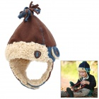 Cute Style Cotton + Polar Fleece Warmer Ear Hat for Boy - Coffee