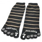 Cool Cotton Five Fingers Toe Socks - Black (Pair)