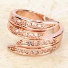 Fashion Tin Alloy Rhinestone Ring - Rose Gold