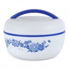 Kreative China Flower Apfelform Dual-Deck Lunch Box w / Handle / Spoon - Blau + Weiß