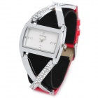 Fashion Woman's PU Band Quartz Analog Waterproof Wrist Watch - Red (1 x 377)