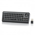 AK810 Dual-Side 3-in-1 Wireless 82-Key Keyboard + Mouse + Remote Controller - Black