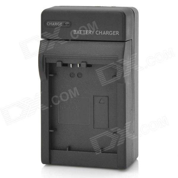 AC Digital Camera Battery Charger for Sony NP-FW50 - Black (AC 100~240V / 2-Flat-Pin Plug) 1400mah camera battery for sony np bg1 np fg1 dsc h3 dsc w70 bc csge bc csgd w30