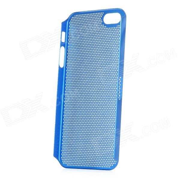 Ultra-Thin Protective Aluminum Alloy Hole Net Hard Back Cover Case for Iphone 5 - Blue