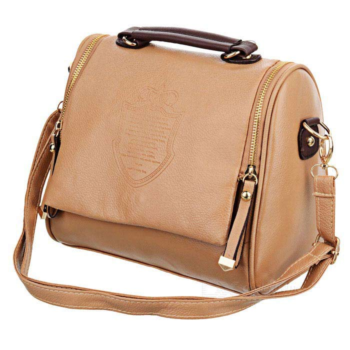 London Style Fashion Women PU Leather Water Resistant One Shoulder Bag Handbag - Goldenrod