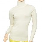 Simple Woman's Mercerized Cotton Knit Turtleneck Sweater - Beige