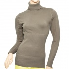 Simple Woman's Mercerized Cotton Knit Turtleneck Sweater - Beige Grey
