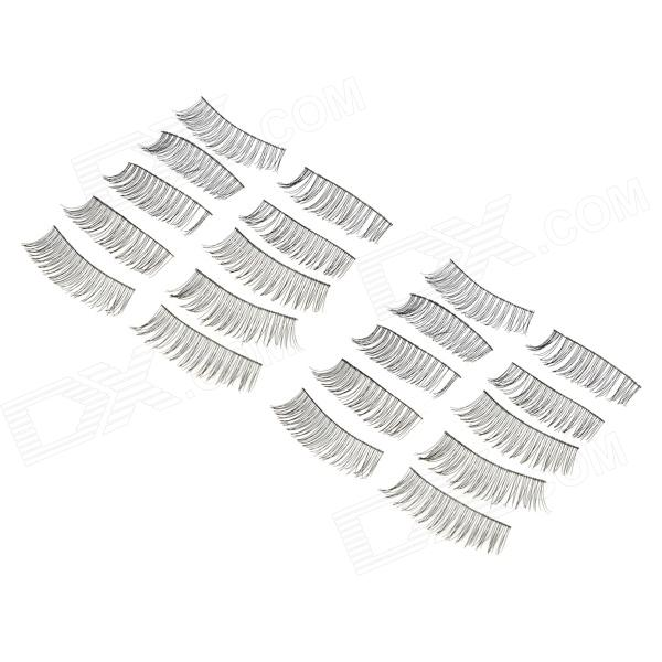 ZX1202-014 Water Resistant Natural Lengthen Darken Artificial Eyelashes Set - Black (10 Pairs)