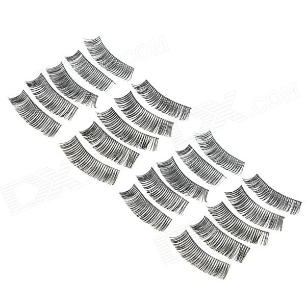 ZX1202-020 Water Resistant Natural Lengthen Darken Artificial Eyelashes Set - Black (10 Pairs)