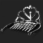 Heart Shaped Elegant Alloy Plating Crown Hairpin w/ Rhinestone - Silver (Size S)