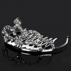 Elliptical Shaped Elegant Alloy Plating Crown Hairpin w/ Rhinestone - Silver (Size S)