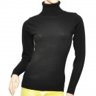 Simple Woman's Mercerized Cotton Knit Turtleneck Sweater - Black