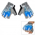 MTWE9018 Anti-Slip Half-Finger Bicycle Riding Cycling Gloves - Blue + Grey + Black (XL-Size / Pair)