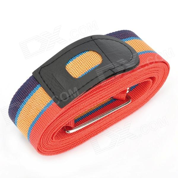 Traveling Polyester Ribbon Cross Luggage Strap - Red + Orange + Blue (4.2m)