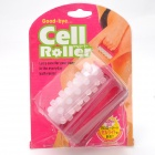 Hand Rolling ABS + Resin Thigh Arm Leg Massager Cell Roller - White + Deep Pink