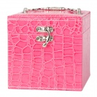 Crocodile Pattern PU Leather 3-Layer Cosmetic Storage Box - Pink