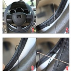 Protective Fiber Leather Car Steering Wheel Cover - Black (37~38cm)