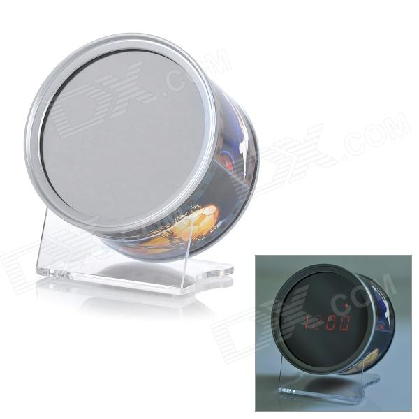 Stylish Mirror Clock w/ Date / Time Display & 3 Control Modes - Silver + Black (2 x AAA)