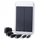 Solar Powered 5000mAh Rechargeable Battery Pack with Cellphone Adapters - Silver