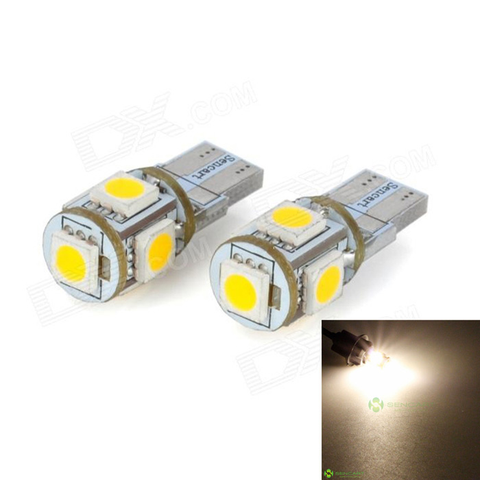 SENCART T10 1.2W 3500K 72lm 5-SMD 5050 LED Warm White Light Decoration Lamps (DC 12V / 2 PCS) t10 led lights w5w auto wedge license plate bulbs turn signal marker led lamps warm white 20smd 3020 1206 dome 12v 194 168 10pcs