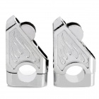 Motorcycle DIY Flame Pattern Aluminum Alloy Raised Damper - Silver (2 PCS)