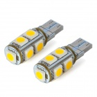 SENCART T10 1.8W 3500K 117lm 9-SMD 5050 LED Warm White Light Decoration Lamps (DC 12V / 2 PCS)