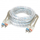 CR-3P-5 2 X RCA Male to Male Car Audio Cables - Silver + Grey (490cm-Cable)