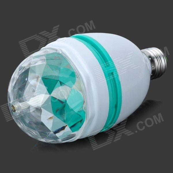E27 Automatic Rotating 3W 300lm Colorful RGB Light 3-LED Lamp Bulb for Decoration - White + Green
