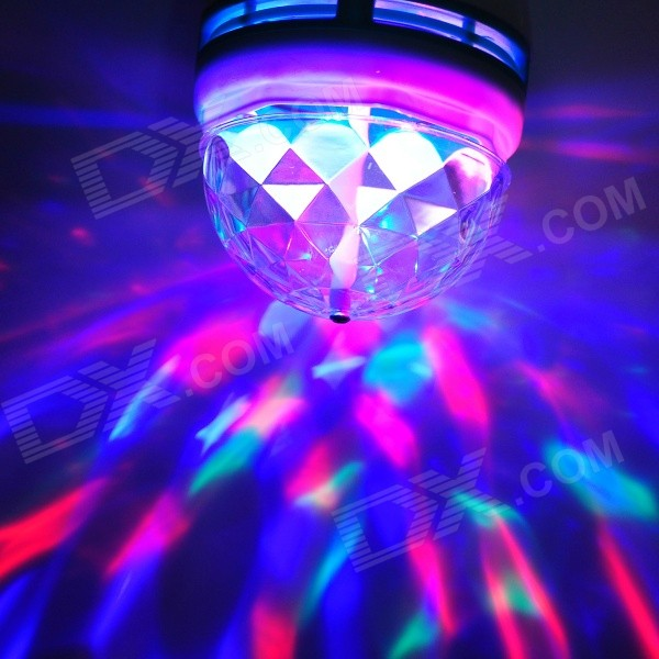 Buy E27 Automatic Rotating 3W 300lm Colorful RGB Light 3-LED Lamp ...