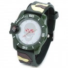 Outdoor Sports Skull Silicone Band Quartz Analog Wrist Watch - Camouflage + White