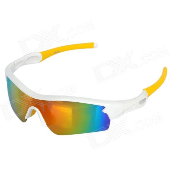 OREKA WG010 Outdoor Motorcycle Riding PC Lens TR90 Frame Glasses Goggles - White + Yellow