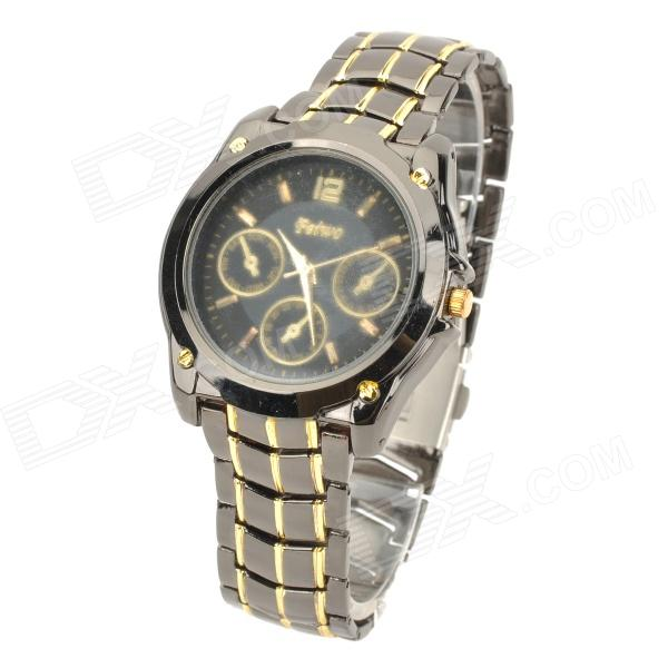 FeiWo Stainless Steel Band Analog Quartz Wrist Watch for Men - Black + Golden (1 x 377) men s silicone band big square dial quartz wrist watch black golden 1 x 377