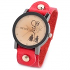Fashion Woman's PU Band Quartz Analog Waterproof Wrist Watch - Red + Black (1 x 377)