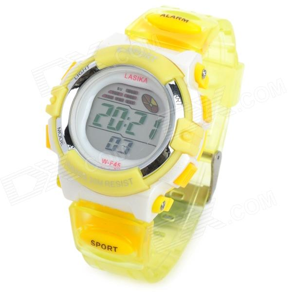 K-SPORT F45 Sport Kid's Rubber Band Quartz Digital Waterproof Wrist Watch - Yellow (1 x 626) hoska hd030b children quartz digital watch