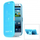 "Protective ""Love You"" Pattern Flip-Open Case Cover with Stand for Samsung Galaxy S3/i9300 - Blue"