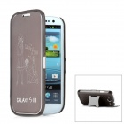 "Protective ""Love You"" Pattern Flip-Open Case Cover with Stand for Samsung Galaxy S3/i9300 - Coffee"