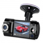 "W100 2.0"" TFT 5.0MP Wide Angle Dual Lens Car DVR Camcorder w/ 2-LED IR Night Vision - Black"