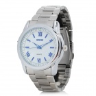 Sinobi Men's Stainless Steel Analog Quartz Wrist Watch - Silver + White (1 x LR626)