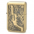 3D Bullet and Pistol Style Zinc Alloy Fuel Oil Lighter - Golden