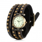 Women's PU Leather Three Circle Band Analog Quartz Wrist Watch - Black + Bronze