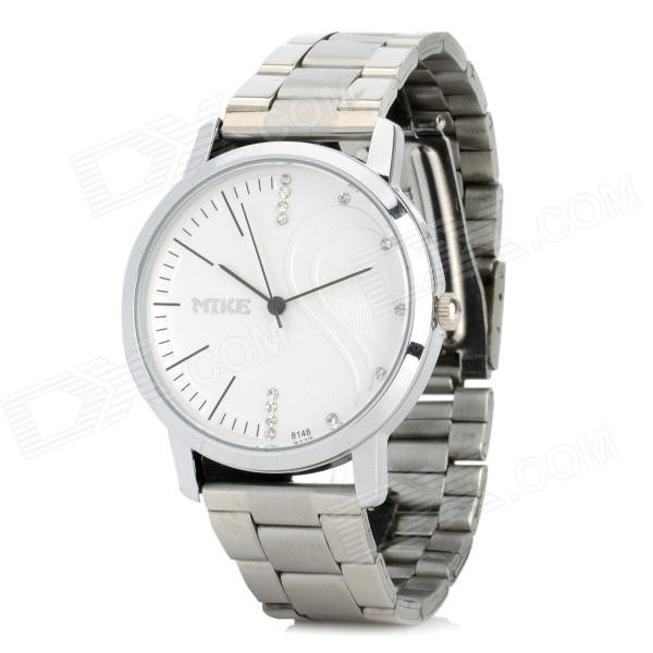 Mike Stainless Steel Band Men's Analog Quartz Wrist Watch - Silver + White (1 x 626)
